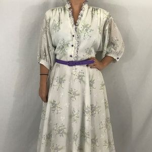 70s/80s Vintage Floral Ruffle Dress